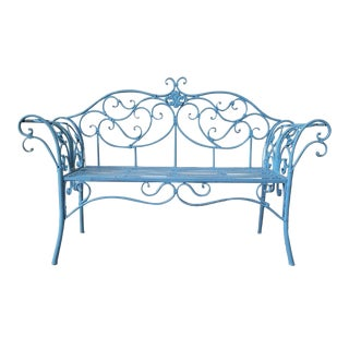 1950s Vintage Blue Wrought Iron Bench