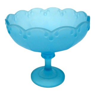 Vintage Indiana Frosted Blue Garland Teardrop Footed Compote Bowl For Sale