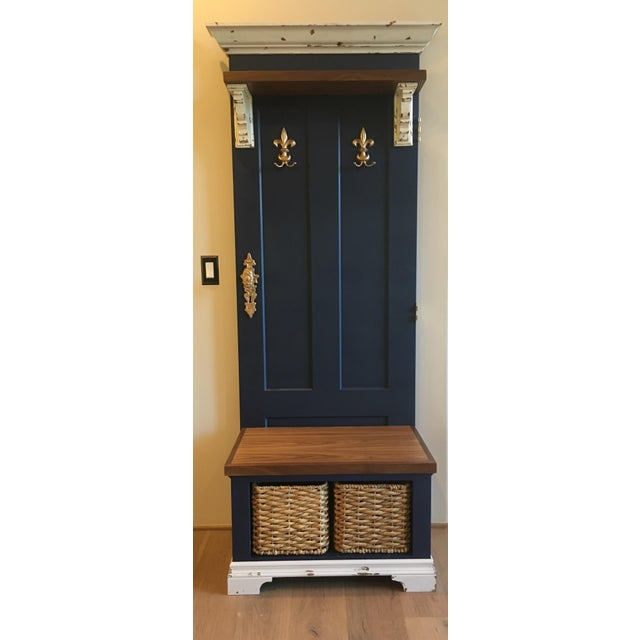 Vintage Entry Bench Door and Storage - Image 8 of 8