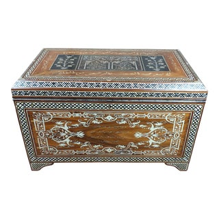 Fabulous Syrian wooden Mother of Pearl Chest w/Calligraphy For Sale
