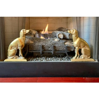 19th C. French Bronze & Iron Seated Dog Figural Firedogs, Andirons or Chenets Preview