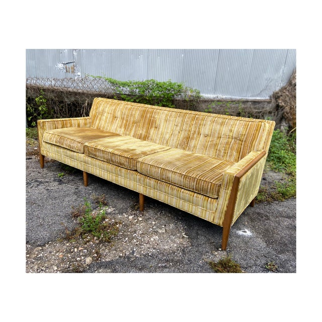Mid-Century Modern Yellow Striped Variegated Velvet Sofa For Sale - Image 13 of 13