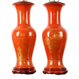 Vintage Japanese Kinrande Vase Lamps - a Pair For Sale