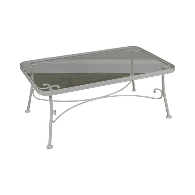 Woodard for Crown Leisure White Wrought Iron Glass Top Patio Coffee Table For Sale - Image 13 of 13