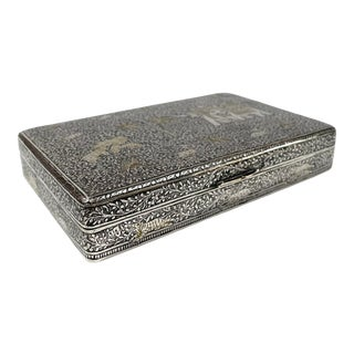 Vintage Niello Etched Silver Cigarette Box With Elephants and Tigers For Sale
