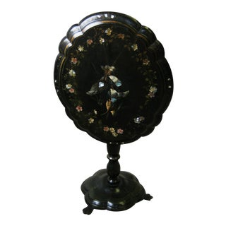 Antique Oval Mother of Pearl Inlaid Paper Mache Tilt Top Table
