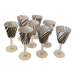 1970s Vintage Italian Handblown Glass Goblets - Set of 8 For Sale
