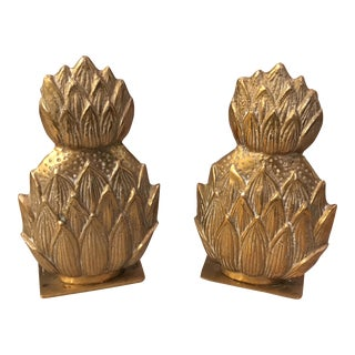 Brass Pineapple Bookends - A Pair