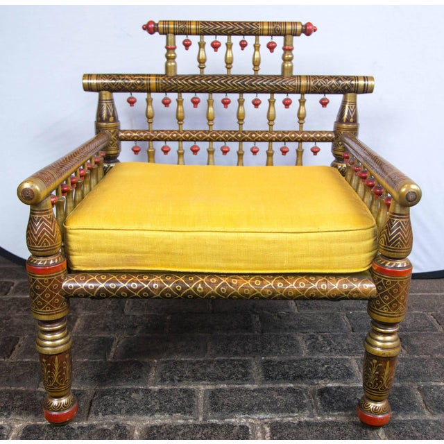 Yellow 1970s Vintage Anglo-Indian Style Decorative Armchairs- a Pair For Sale - Image 8 of 19