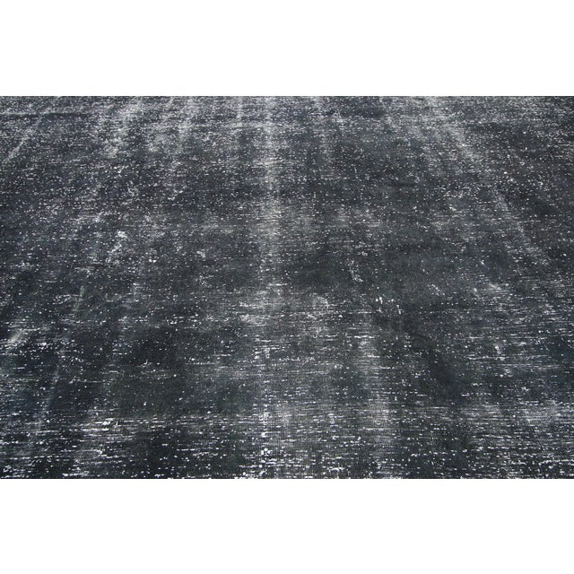 Vintage Turkish Dark Charcoal Rug With Industrial Style - 09'04 X 12'02 For Sale - Image 4 of 7