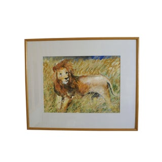 """Figurative Acrylic Painting, """"Lioness"""" by Suza Talbot For Sale"""