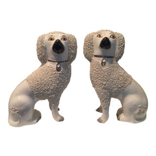 White Confetti Staffordshire Dog Figurines - a Pair For Sale