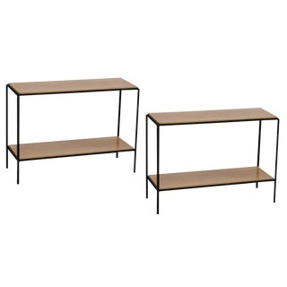 Pair of Chic Wrought Iron and Oak 'Rectiligne' End Tables by Design Frères For Sale