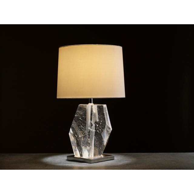 Crystal Faceted Lamp Crystal Hand Carved Silk Shade Limited Edition