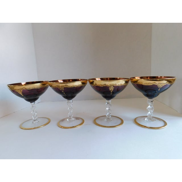 Vintage Amethyst Bohemian Glass Ice Bucket and Champagne Coupes - Set of 5 For Sale - Image 4 of 13