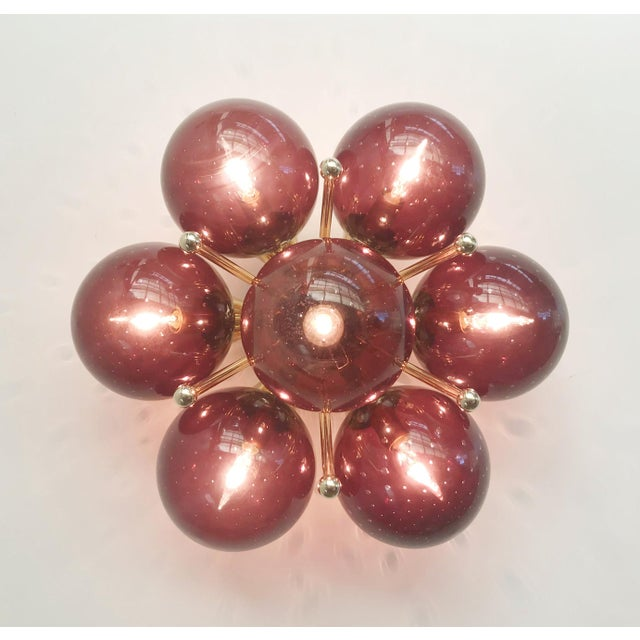 Italian modern flush mount or wall light with 7 amethyst Murano glass globes carefully hand blown with bubbles inside the...