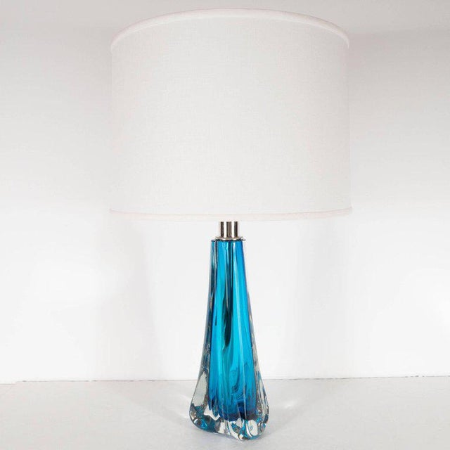 Glass Pair of Modernist Handblown Murano Pale Sapphire & Translucent Glass Table Lamps For Sale - Image 7 of 9