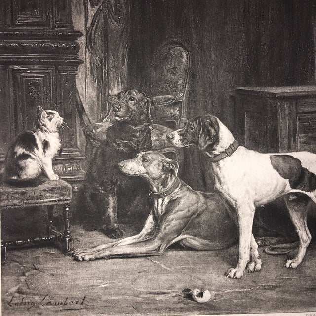 Late 19th Century 1883 Antique L E Lambert Dogs & Cat Lithograph Print For Sale - Image 5 of 8