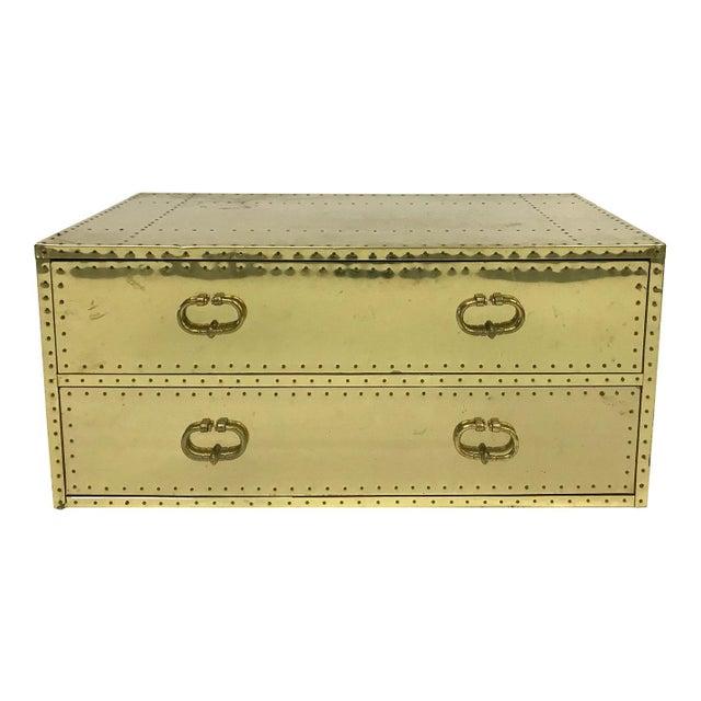 Vintage Sarreid Ltd Two-Drawer Brass-Clad Chest For Sale - Image 11 of 11