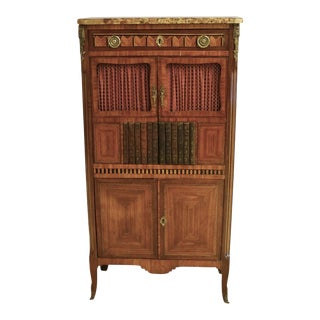 Circa 1910 Louis XV Parquetry Satinwood and Walnut Cabinet For Sale