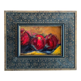 Original Contemporary Modernist Alexandra Brown Still Life Small Oil Painting With Apples For Sale