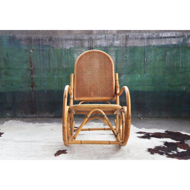 1970s Mid-Century Hollywod Regency Boho Style Chic Rocking Chair For Sale - Image 5 of 11