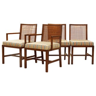 Scandinavian Style Cane Back Manner of Michael Taylor Dining Chairs - Set of 4