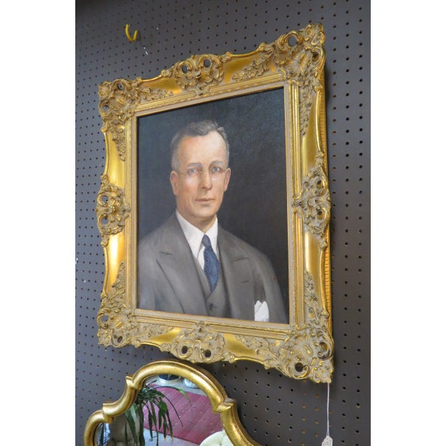Canvas Vintage Traditional Portrait of a Gentleman Oil on Canvas For Sale - Image 7 of 8