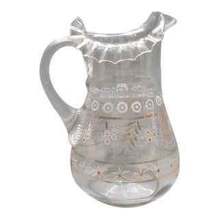 Antique Enameled Daisy Decorated Water Pitcher W/ Ribbed Handle Ruffled Top For Sale