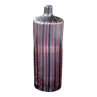 1960s Italian Murano Signed Venini Multi Striped Bottle For Sale