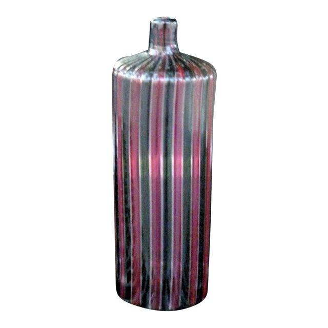 1960s Italian Murano Signed Venini Multi Striped Bottle For Sale