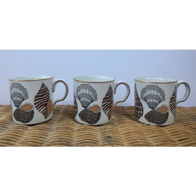 Fitz and Floyd for Neiman Marcus Shell Motif Espresso Demitasse Cups - Set of 3 For Sale In Charleston - Image 6 of 11