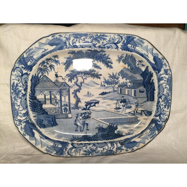 Early 19th Century Blue and White Staffordshire Large Platter For Sale - Image 12 of 12
