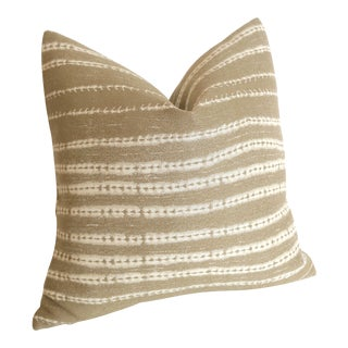 Beige Mudcloth Style Pillow Cover 18x18 For Sale