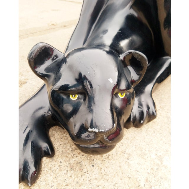 Vintage fiberglass black panther coffee table circa 1970's This is in good vintage condition with paint loss and scratches...