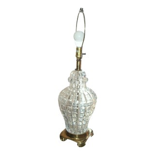 Mid 20th Century Hollywood Regency Cut Crystal Ginger Jar Lamp For Sale