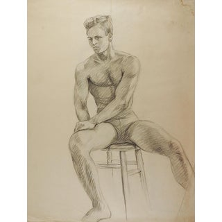 Drawing Seated Male Figure 1950's For Sale