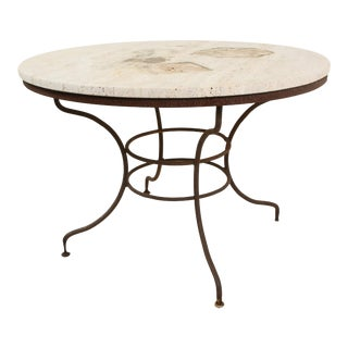 Italian Wrought Iron and Stone Table, circa 1940 For Sale