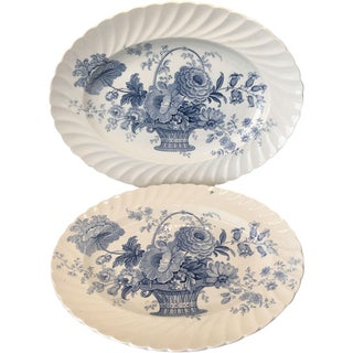 Royal Staffordshire Charlotte Blue & White Scalloped Platters - A Pair