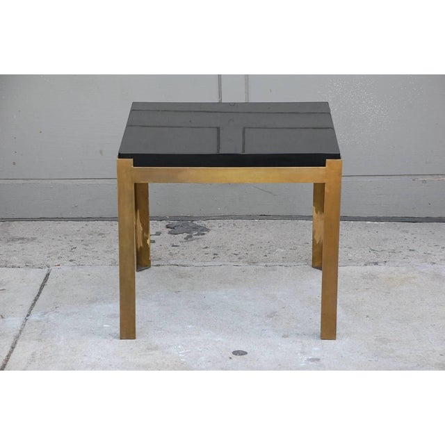 Contemporary Design Frères 'Caisson' Lacquer and Patinated Brass Side Tables - a Pair For Sale In Los Angeles - Image 6 of 7