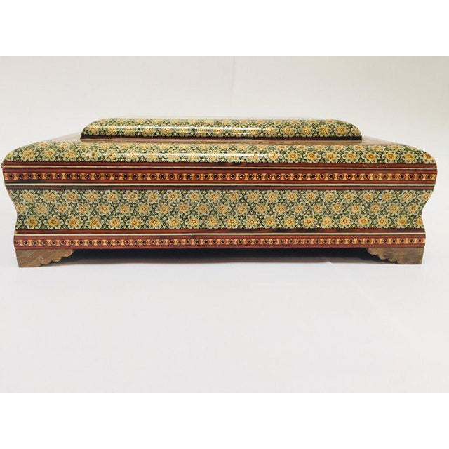 Islamic Large Persian Jewelry Mosaic Khatam Inlaid Box For Sale - Image 3 of 13
