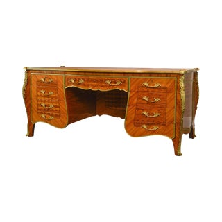 French Louis XV Style Kingwood Marquetry Inlaid Leather Top Ormolu Executive Desk For Sale