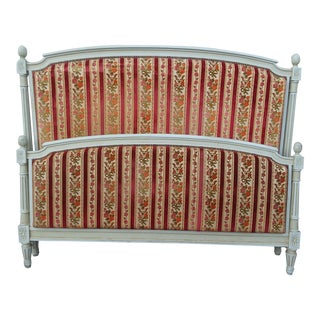 Vintage Upholstered French Louis XVI Style Full Size Bed