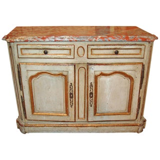 18th Century Painted and Gilded Marble Top Bahut Buffet