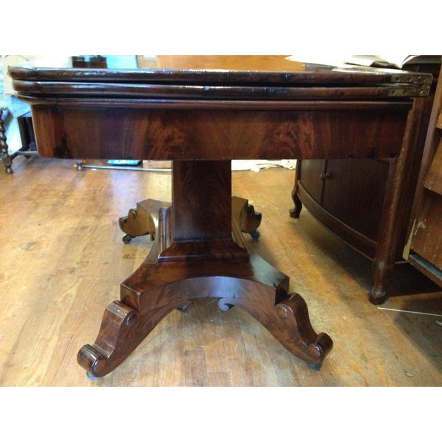 Mid 19th Century Empire Burl Mahogany Swivel Top Game Table For Sale - Image 5 of 13