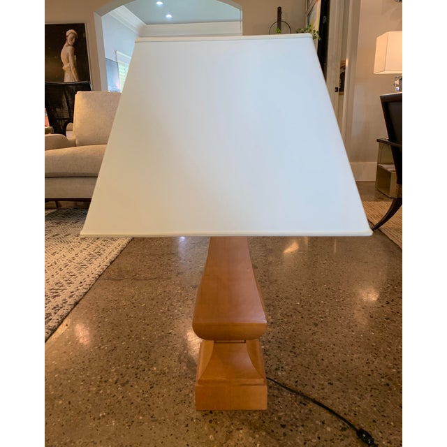 Baker Furniture Company Thomas Pheasant for Baker Furniture Wood Lamp For Sale - Image 4 of 6