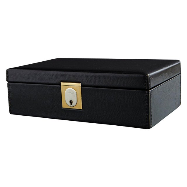 Gucci Black Leather and Red Velvet Jewelry Box From the Collection of Ann Turkel For Sale - Image 13 of 13