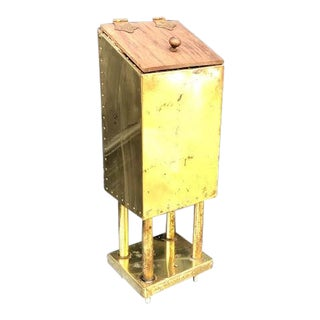Hollywood Regency Brass Standing Mountable Mailbox W/ Wooden Lid For Sale