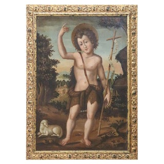 18th Century Italian Oil Painting on Canvas, St. Giovannino For Sale