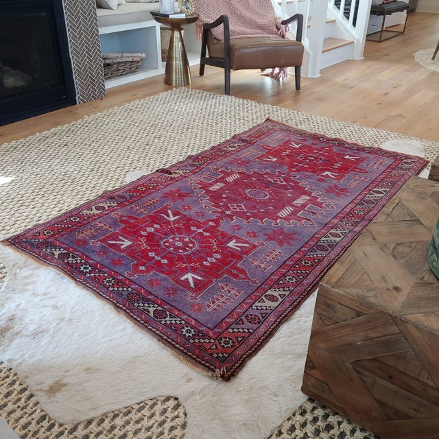 Mid Century Pink and Purple Heriz Rug For Sale - Image 9 of 13